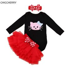 Hello Kitty Baby Girl 1st Birthday Dress Infant Bodysuit Tutu Set Headband Lace Skirt Valentines Dress Ropa De Bebe Kids Outfits(China)