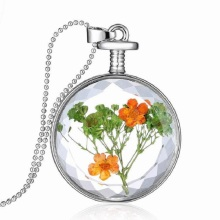 Mini Blue Real Dried Flower Silver Plated Perfume bottle Glass Lovers necklace for women Wholesale ladies Choker Necklaces