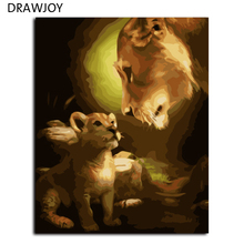 Frameless Pictures Painting By Numbers Home Decor DIY Canvas Oil Painting Of Lion Motherhood For Living Room 40*50cm G368