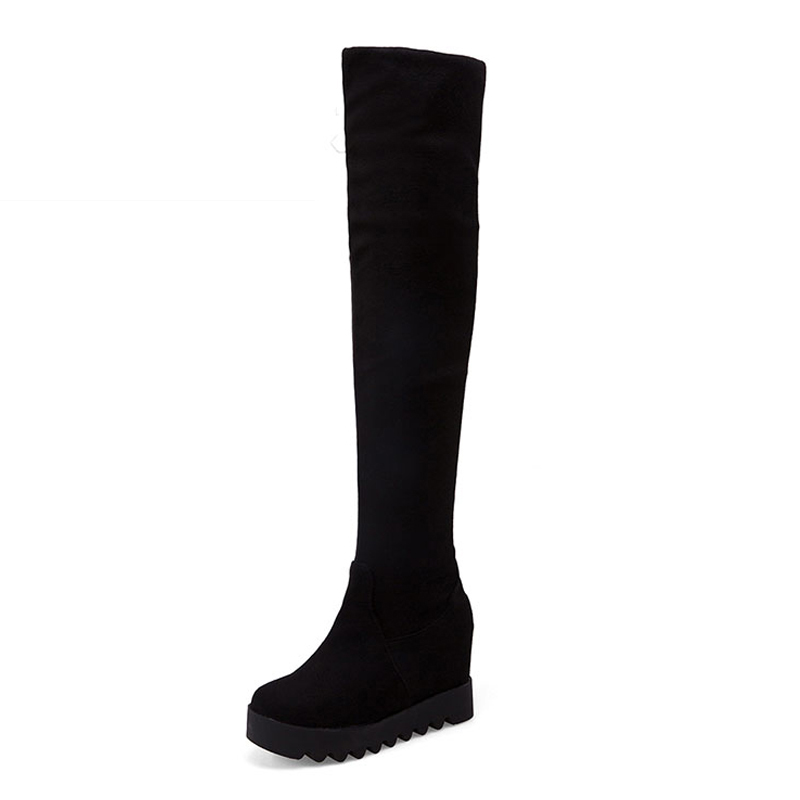 Big Size 34-43 Concise 2 Styles Platform Womens Thigh High Boots Hidden Wedges Warm Autumn Winter Shoes Woman Female Footwear<br><br>Aliexpress