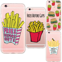 Hot Sale Charming Chips Heart Macaron Popcorn Hamburger Design Phone Cases For iphone 5 5s se 6 6s Plus Plastic Soft TPU Shells