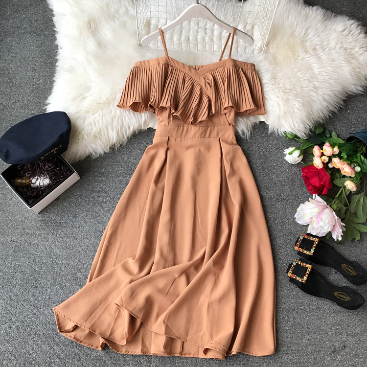 2019 Spring Women Chiffon Pleated Braces Sling Spaghetti Strap Goffer Long Dress Ladies Ruffles Empire Drapped Swing Slip Dress 145