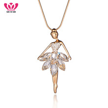 Buy Ballet Dancer Pendant Long Chain Necklaces Classica Dance Big Crystal Doll Necklace Women Collares Mujer Statement Necklace for $2.96 in AliExpress store