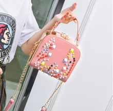 2017 newest messenger bag colorful rivets gold chain women box bag charm small shoulder bag Frame bag New Fashion