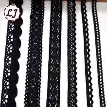 Hot sale new arrived 5yd/lot black lace fabric ribbon cotton lace trim sewing material for home curtains garment accessories DIY(China)