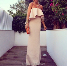 Gorgeous Strapless Ruffles Column Straight Nude Fashion Evening Dresses Formal Dress Special Occasion Dress For Women