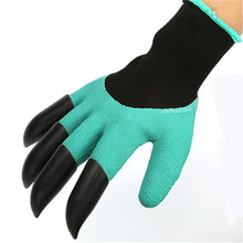 1 Pair Rubber Polyester Builders garden Genie Gloves Gloves 4 ABS Plastic Claws High Quality Garden Gloves With Plastic Claws(China)