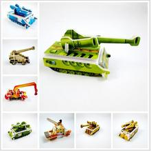 Hot Sale 10pcs/lot Paper Tank Engineering vehicle Miniature 3D Model Puzzles Jigsaw Puzzle Toys For Children Kids DIY Craft(China)