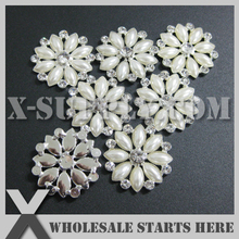 DHL Free Shipping Round Flat Back Pearl Rhinestone Embellishments Button for Flower Center,Cake Decoration