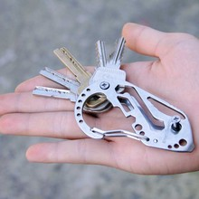 Outdoor camping EDC Tool Multi Function Keychain Screwdriver Wrench Carabiner Stainless steel self defense(China)