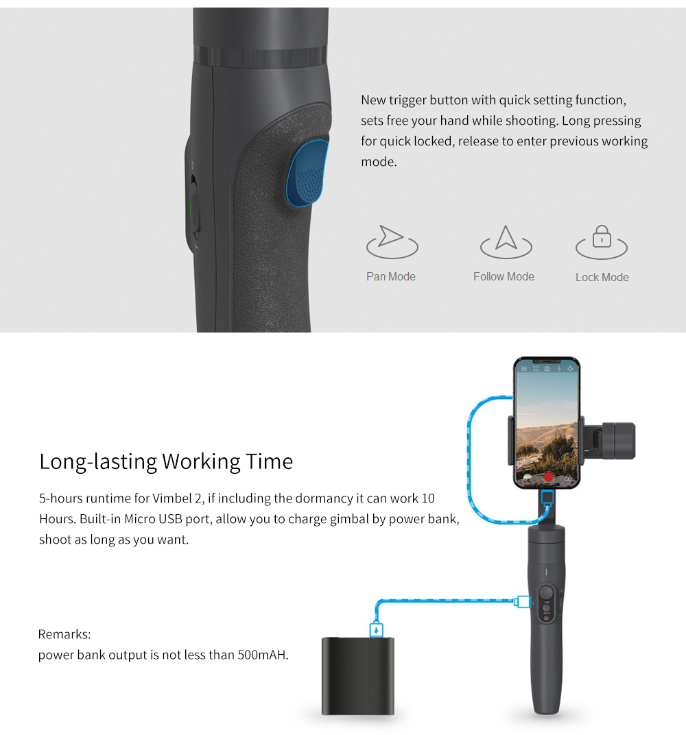 Feiyu vimble 2 Smartphone 3-Axis Handheld Gimbal Stabilizer bluetooth wireless selfie stick for iPhone X Gopro sjcam Smooth Q 5