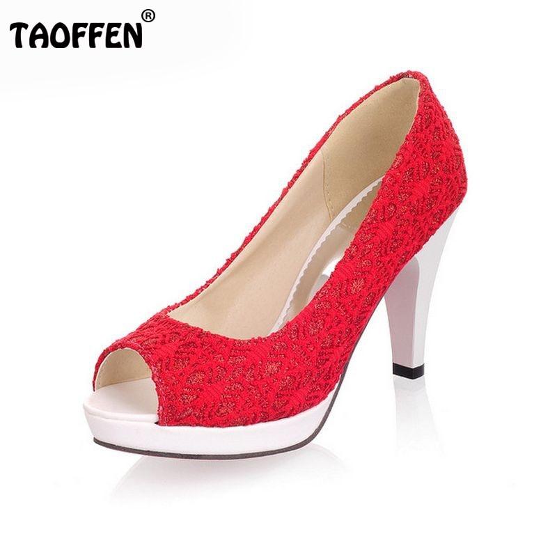 Ladies Stiletto High Heels Peep Toe Shoes Dress Shoes Women Wedding Lace Sexy Casual Slip-On Platform Pumps Size 31-43 PA00382<br><br>Aliexpress