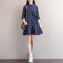 House Autumn Winter A Woman System Giraffe Printing Half Buckle Leisure Time Long Sleeve Wear Hair Rendering Dress(China)