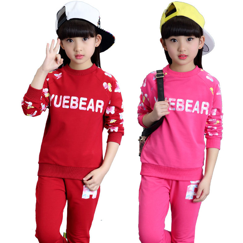 Children Clothing Sets For Girls Tracksuits Long Sleeve Letter T-Shirts &amp; Pants 2Pcs Sportswear Butterfly Sports Suits Outfits<br><br>Aliexpress