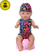Baby Born Doll Clothes Multicolor leopard Swimwear + Hooded Suit fit 43cm Baby Born Zapf Doll Clothes Doll Accessories 542(China)