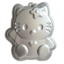 Hot Sales Cute Aluminum Alloy Hello Kitty Shape Cake Pan Baking Mold 3D Hellokitty Fondant Cake Mold DIY Baking Decoration Tools(China)