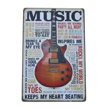 Vintage Photo Home Decor Guitar metal signs home decor Cafe Bar wall sticker house living room poster Iron Painting
