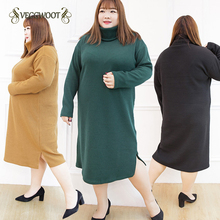 100KG Fat MM Plus size 8XL Women's knit sweater winter turtleneck loose solid color pullover sweater dress Female 4XL-8XL WYT589(China)