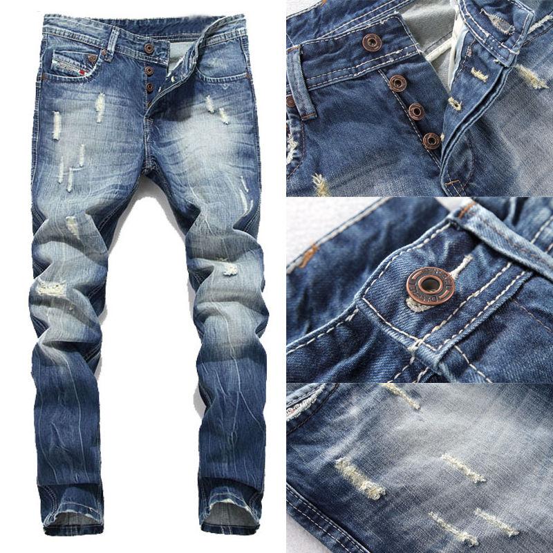 Men Pants Ripped Designer Skinny Jeans Stretch Denim Distress Frayed Biker Jeans Boys MenОдежда и ак�е��уары<br><br><br>Aliexpress