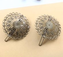 Vintage Flower Motif Hair Jewelry Charm Women Antique Bronze Hair Pins Hairs Clips Barrettes Retro Headwear Wholesale
