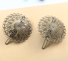 Vintage Flower Motif Hair Jewelry Charm Women Antique Bronze Hair Pins Hairs Clips Barrettes Retro Headwear Wholesale(China)