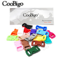 "20pcs Colorful 3/8"" Side Release Buckle Curved Parachute 550 Paracord Bracelet Dog Collar Strap Webbing Outdoor Camp Bag Parts"