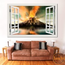 3d Window Scenery Wallpaper Nature Landscape Wall Stickers Amazing Fire Volcano Vinyl Decal Mural Art Home Decor