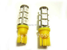 One pair YELLOW W5W WEDGE 5050 3 CHIPS LIGHT 13 SMD LED BULBS LED Car Interior bulbs LED instruction auto lights