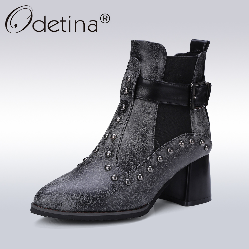 Odetina Sexy Pointed Toe Rivet Chelsea Boots Women Buckle Strap Gladiator Ankle Boots Lady Heels Motorcycle Boot Plus Size 46<br>
