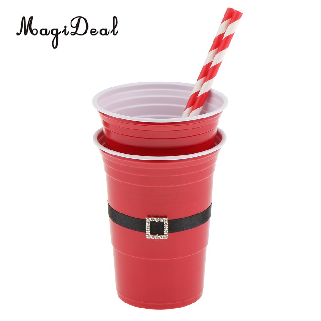 MagiDeal 6pcs Beer Bong Red Solo Cups Christmas Santa Crystal Belt Cups Shot Glasses Frat Party Drinking Game Drinkware 16oz