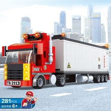 City Transport Dumper Container Loading Truck Model Toys Car 281Pcs Building Blocks Bricks Compatible All Brand With Minifig(China)