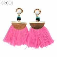 SRCOI Vintage Big Fan Fringe Earrings Pink Black Red Blue Brush Tassel Earrings Drops Big Large Chandelier Brincos Fashion 2017