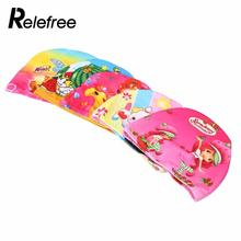Flexible Lovely Printed Children Swimming Cap Waterproof Bathing Stretch Fabric Hat Protect Ears for long hair Kids Color Random