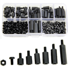2016 Hot Selling 180Pcs M3 Nylon Black M-F Hex Spacers Screw Nut Assortment Kit Stand off Set Box