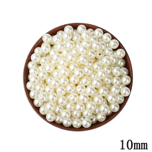10mm ABS Ivory Imitation Pearl Round Hole Beads 100pcs/lot Cheap Wholesale Wedding Beaded Plastic DIY Beads For Jewelry Making(China)
