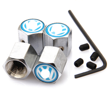 1 set Anti-theft Tire Valve Cap for VW Logo Blue Backgound White Letter Car Tuning Valve Covers Car-Styling Parts Accessories