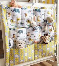 Useful Crib Pocket Hanging Storage Bag Baby Clothes Stuff Toys Organizer Cotton Diaper Pocket for Crib Bedding