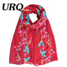 Embroidered Scarf For Women Foulard Flower Chinese Style Ethnic Thin But Warm Winter Scarves and Wrap Autumn 2017 New Spring(China)