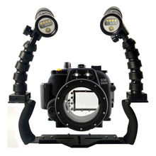 For Canon 550D 600D 650D 70D 5D III Camera Underwater Housing Diving Case+ Dual Lighting Flex Arm Bracket + Diving Video Torch