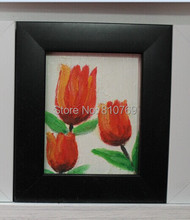 NEW 100% hand-painted Free shipping oil painting on Small thin board Match framework  high quality Red flower DM-928013