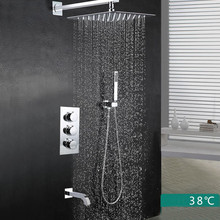"Free Shipping 8"" or 10"" or 12"" Rain Shower Thermostatic Shower mixer valve three way Shower ser with holder and spout SS0158"