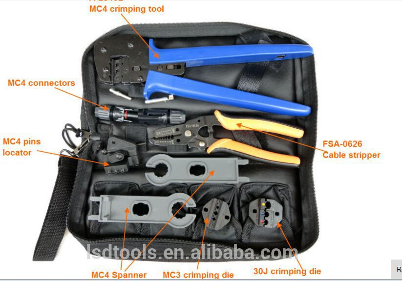 A-K2546B-5 Solar Tool Kit, solar Tool set MC4 crimping tool with MC3 crimping die set, cable stripper, MC4 spanner solar PV tool<br>