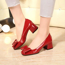 2016 High Quality New Sexy Red Black Women Thick Low Heels Pumps Patent Leather Fashion Bow Upper Slip On Dress Shoes Round Toe