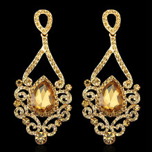 Hot Selling Fashion Exquisite Gold Long Chandelier Earrings For Women Wedding ,Big Water Drop Bridal Earring With Crystal