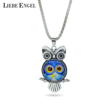 LIEBE ENGEL fashion Owl pendant necklace newest glass cabochon necklace in jewelry vintage silver color statement chain necklace(China)