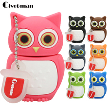 100% Real Capacity Pen Drive Cartoon Owl USB Flash Drive 4gb 8gb 16gb 32gb 64gb 128gb Flash Drive Disk Memory Stick 7 color(China)