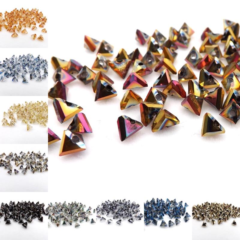 De 6 mm Checa Mates dos agujero Triángulo de las cuentas de cristal la fabricación de joyas 5g