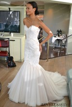 2015 Fall Newest Design Wedding Gown Fishtail Sweetheart Corset Bodice Sweep Train Modern  Wedding Dress With Appliques MF489