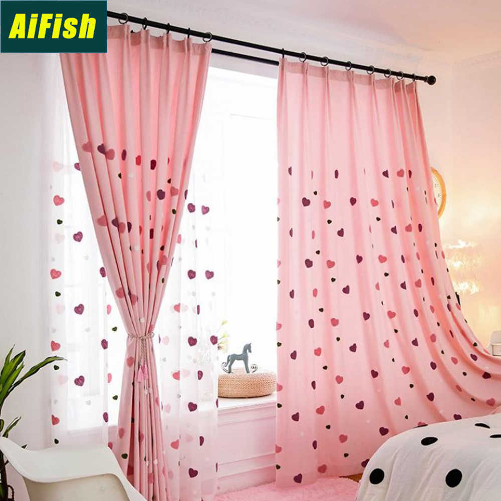 Heat Shape Embroidered Semi Blackout Pink Curtains for Kids Girls Bedroom White Sheer Voile Window Curtain Tulle Panels TM0383