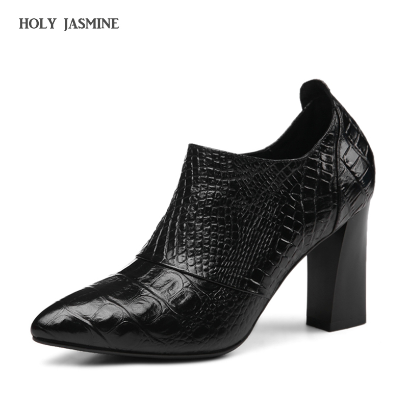 Cow Leather Pumps fashion Embossed High Spike Heel Womens Shoes 2018 New Arrival Zipper Ladies Pumps Pointed Toe Female Shoes<br>